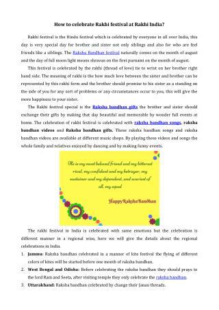 How to celebrate Rakhi festival at Rakhi India?