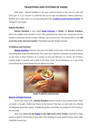 TRADITIONS AND CUSTOMS OF RAKHI