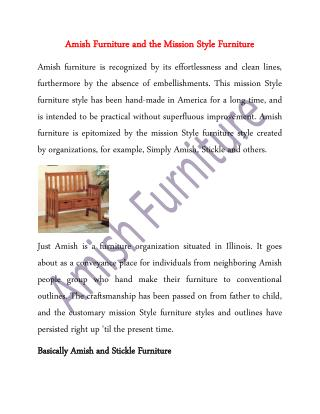 Amish Furniture and the Mission Style Furniture