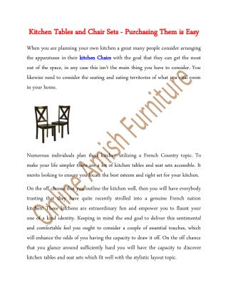 Kitchen Tables and Chair Sets - Purchasing Them is Easy