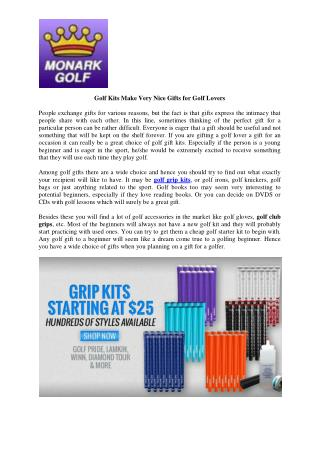 Golf Kits Make Very Nice Gifts for Golf Lovers