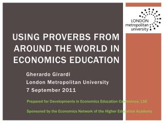 USING PROVERBS FROM AROUND THE WORLD IN Economics EDUCATION