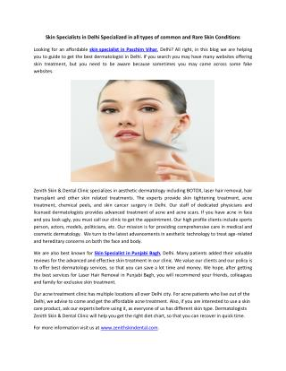 Skin Specialists in Delhi Specialized in all types of common and Rare Skin Conditions