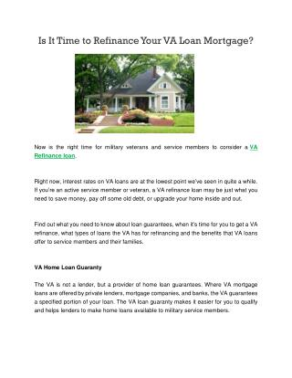 Is It Time to Refinance Your VA Loan Mortgage