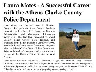Laura Motes - A Successful Career with the Athens-Clarke County Police Department