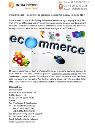 Ecommerce Website Design Company In Delhi NCR