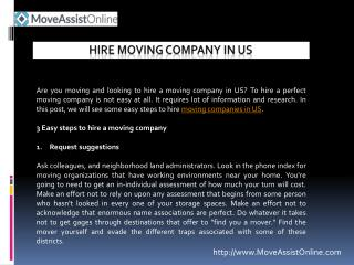 Looking to Hire a Moving Company in US?
