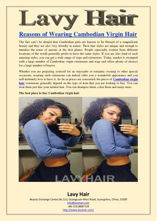 Reasons of Wearing Cambodian Virgin Hair