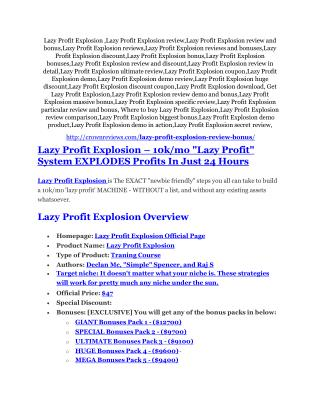 Lazy Profit Explosion review and (MEGA) bonuses – Lazy Profit Explosion