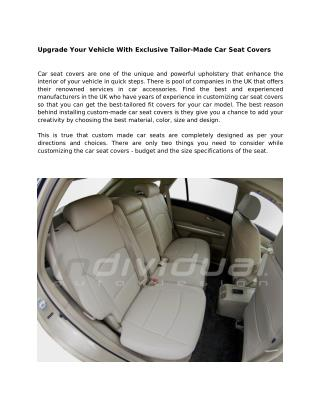 Upgrade Your Vehicle With Exclusive Tailor-Made Car Seat Covers
