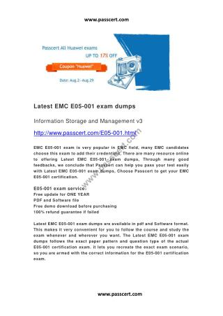 Latest EMC E05-001 Exam Dumps