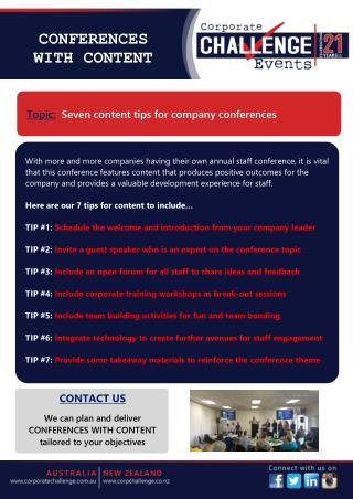 Seven content tips for company conferences