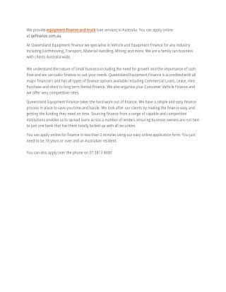 Qefinance - Equipment finance, Truck loan services Australia