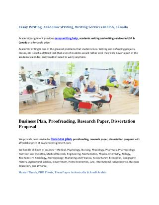 Essay Writing, Academic Writing, Writing Services in USA, Canada