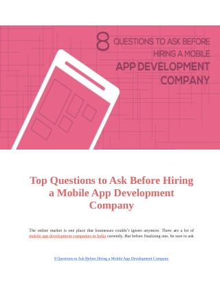 Top 8 Questions to Ask Before Hiring a Mobile App Development Company