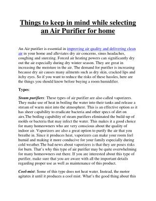 Pure Air Hub - Tips to choose the best air cleaner