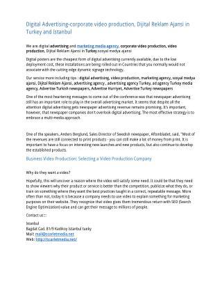 Digital Advertising-corporate video production, Dijital Reklam Ajansi