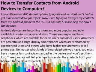 How to backup Contacts Android to Computer