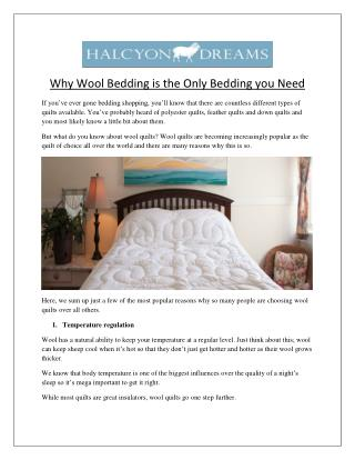 Why Wool Bedding is the Only Bedding you Need?