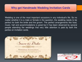 Why get Handmade Wedding Invitation Cards