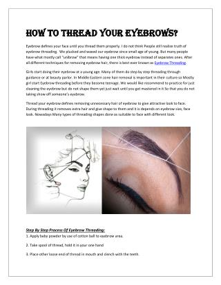 How to thread your eyebrows?
