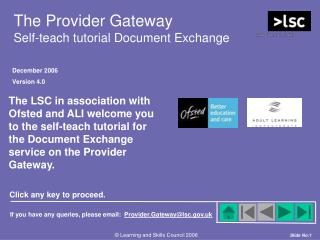 The Provider Gateway Self-teach tutorial Document Exchange