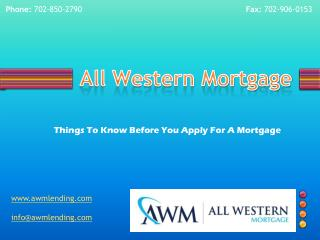 Mortgage application | All Western Mortgage