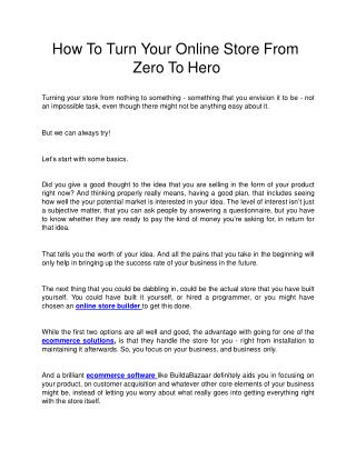 How To Turn Your Online Store From Zero To Hero