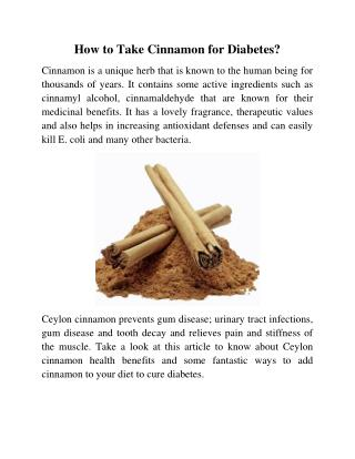 How to Take Cinnamon for Diabetes?