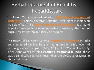 Herbal Treatment of Hepatitis C - Hepatitisccare
