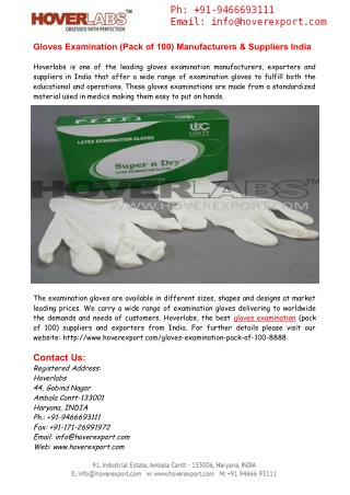 Gloves Examination (Pack of 100) Manufacturers India