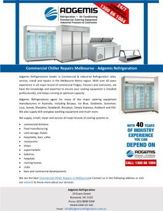 Commercial Chiller Repairs Melbourne – Adgem is Refrigeration