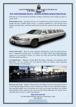 New York Limousine Service – Benefits of Hiring Airport Limo Service