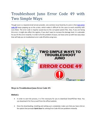 Troubleshooting Juno Error Code 49 with Two Simple Ways