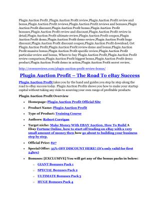 Plugin Auction Profit review - Plugin Auction Profit  100 bonus items