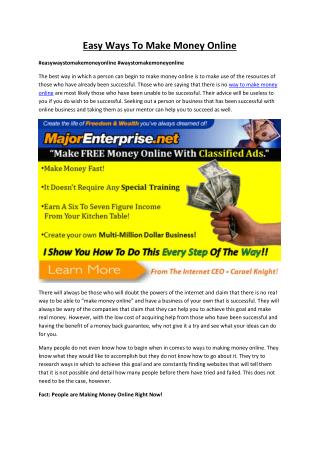 Get Easy Ways to Make Money Online