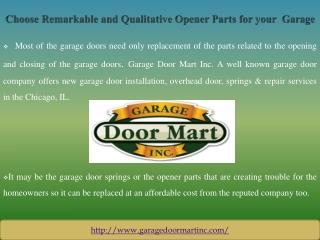 Choose Remarkable and Qualitative Opener Parts for your Garage