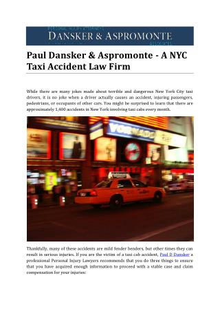 Paul Dansker & Aspromonte - A NYC Taxi Accident Law Firm