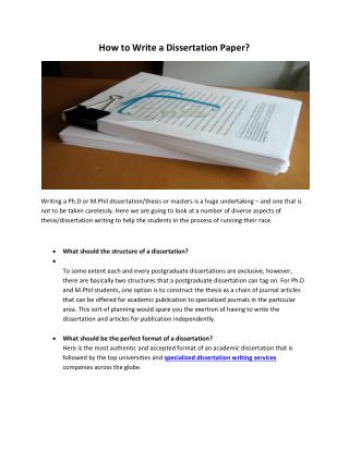 How to Write a Dissertation Paper?