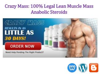 Crazy Mass – 100% Safe Legal Steroids for New Comer's Muscle builders!
