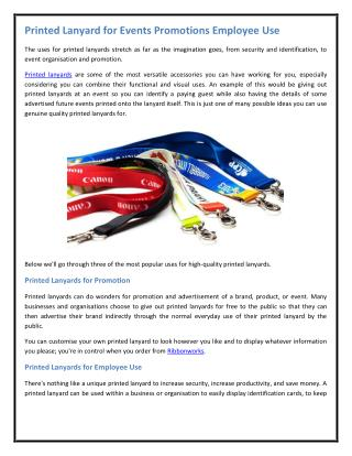Printed Lanyard for Events Promotions Employee Use