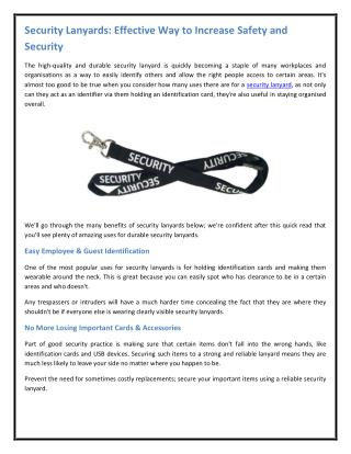 Security Lanyards: Effective Way to Increase Safety and Security