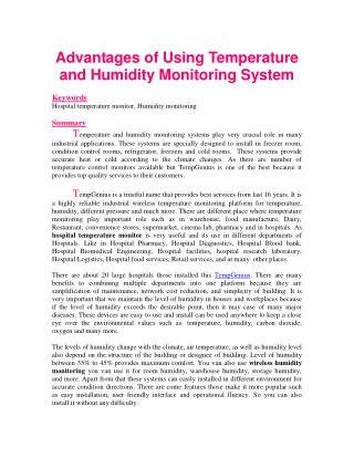 Advantages of Using Temperature and Humidity Monitoring System