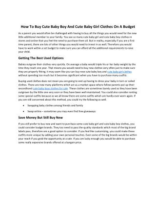 How To Buy Cute Baby Boy And Cute Baby Girl Clothes On A Budget