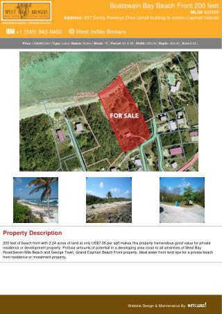 Boatswain Bay Beach Front 200 feet - Cayman Land Property For Sale
