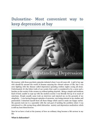 Duloxetine- Most convenient way to keep depression at bay
