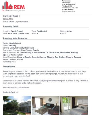 Sunrise Phase II - Residential Property For Rent In Cayman Islands