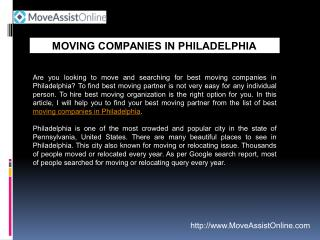 Find Top Moving Companies in Philadelphia