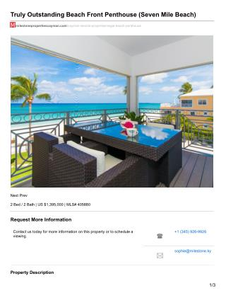 Truly Outstanding Beach Front Penthouse Cayman Property For sale