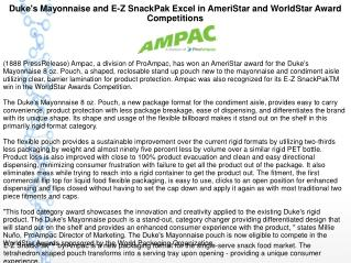 Duke's Mayonnaise and E-Z SnackPak Excel in AmeriStar and WorldStar Award Competitions